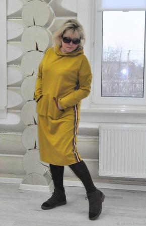 Платье худи из джерси ручной работы на заказ