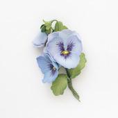 Брошь голубые анютины глазки букетик цветов