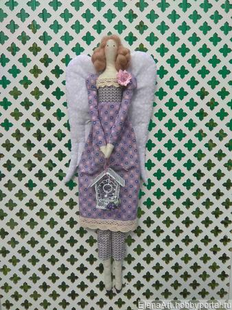 Интерьерная кукла в стиле Тильда Лавандовый Ангел ручной работы на заказ