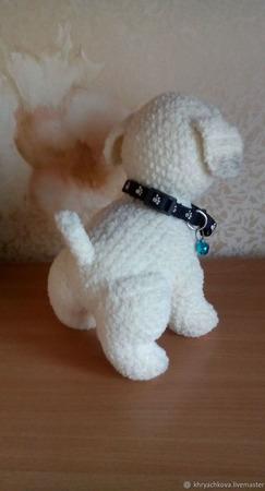 Вязаная игрушка собачка Тузик ручной работы на заказ