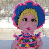 Вязаная кукла Цветочница Ксюша