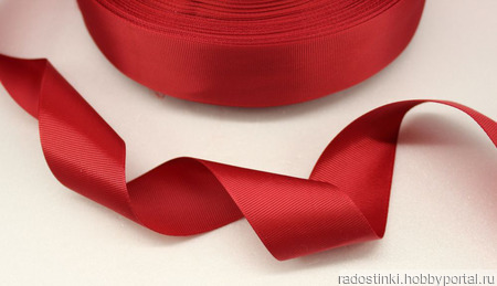 Репсовая лента однотонная, красная ручной работы на заказ