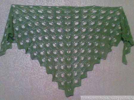 Шаль снуд нежно-зелёного цвета ручной работы на заказ