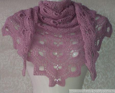 Шаль снуд тёмно-розового цвета ручной работы на заказ