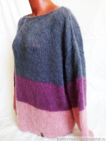 Вязаный свитер оверсайз в стиле ColorBlock ручной работы на заказ