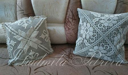 Наволочка на подушку вязаная в ассортименте ручной работы на заказ