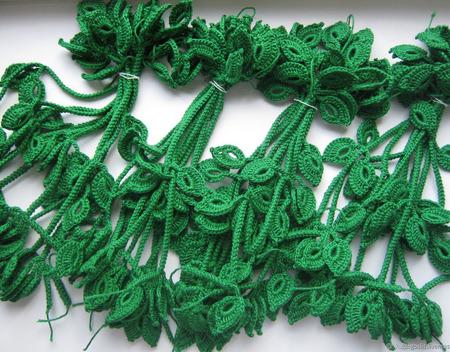 Веточка с листиками (шнур-гусеничка) для аппликации ручной работы на заказ