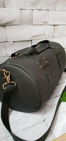 Спортивная дорожная сумка из натуральной кожи Crazy Horse с фамилией ручной работы на заказ