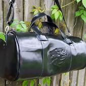 Спортивная мужская дорожная сумка из натуральной кожи с со львом