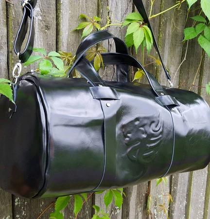 Спортивная мужская дорожная сумка из натуральной кожи с со львом ручной работы на заказ