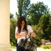 Женская спортивная сумка из кожи с принтом под змею