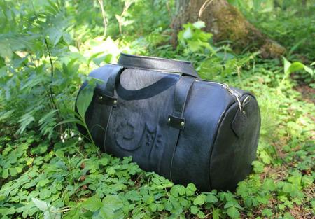 Дорожная большая сумка из натуральной кожи с котиком ручной работы на заказ