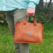 Мужская деловая сумка-портфель из толстой кожи Crazy Horse