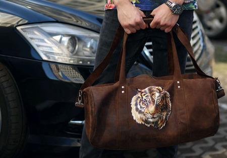 """Спортивная дорожная сумка из натуральной кожи """"Тигр"""" ручной работы на заказ"""