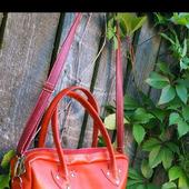 Красная сумка-портфель из натуральной кожи