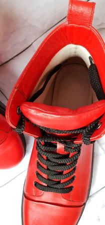 Кеды кожаные красные ручной работы на заказ