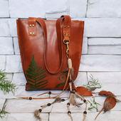 Сумка-шоппер из натуральной кожи с папоротником в индейском стиле