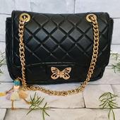 Черная женская сумка из натуральной кожи по мотивам Chanel