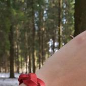 """Кожаный красный  браслет """"Косичка"""""""