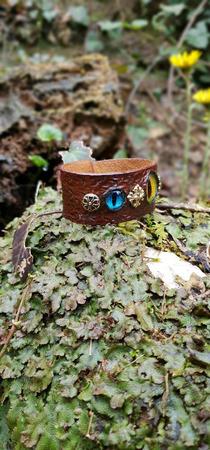 """Кожаный браслет с глазом дракона """"Третий глаз"""" ручной работы на заказ"""
