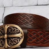 Ремень кожаный женский с кельтским узором