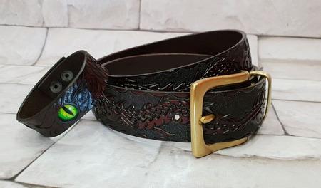 Кожаный ремень мужской с латунной пряжкой ручной работы на заказ