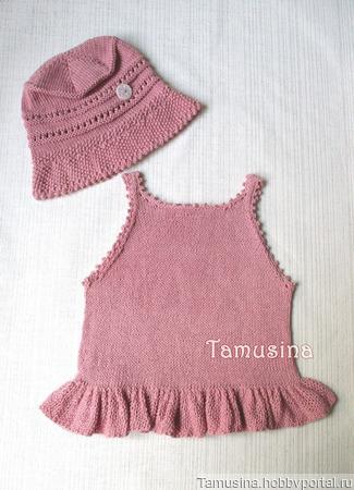 Комплект: топ с воланом и панама-клош для девочки ручной работы на заказ