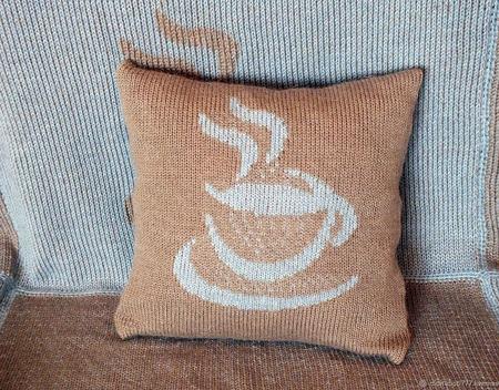 "Чехол на подушку ""Кофейный туман"" ручной работы на заказ"