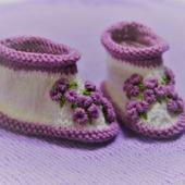 Пинетки для девочки с вышивкой