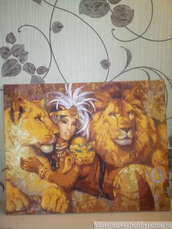 """Картина """"Девушка и львы"""" ручной работы на заказ"""