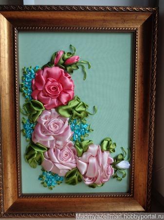 """Интерьерная картина """"Любимые розы"""" ручной работы на заказ"""
