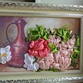 """Интерьерная картина """"Кувшин и розы"""""""