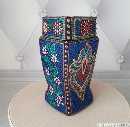 Баночка для кофе, чая точечная роспись ручной работы на заказ