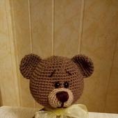Детская вязаная игрушка медвежонок с бантом