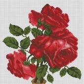 """Схема для вышивки крестом """"Красные розы в вазочке"""""""