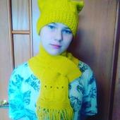 """Шапка и шарф с узором """"Совы"""""""