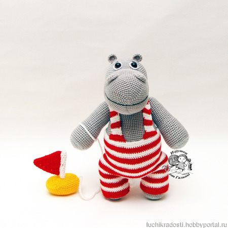 Вязаная игрушка Бегемот Мотя ручной работы на заказ