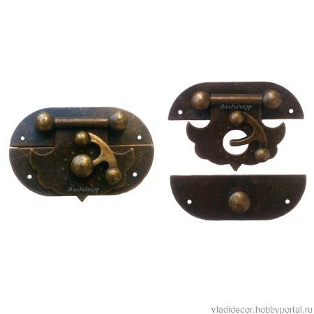 Замочек с задвижкой накладной М-253 шкатулки фурнитура ручной работы на заказ