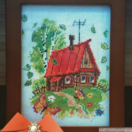 """Картина """"Домик в деревне"""" ручной работы на заказ"""