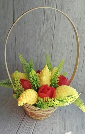 """Мыло """"Весенний букет тюльпанов и мимозы"""" ручной работы на заказ"""
