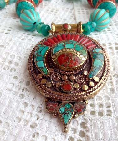 """Непальские бусы с кулоном """"Восход"""", этнические украшения. ручной работы на заказ"""