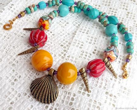 """Колье """"Ариэль"""", яркие украшения в морском стиле. ручной работы на заказ"""