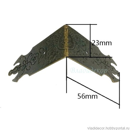 Угол накладка сундука Ф-3-ср двойной боковой ручной работы на заказ
