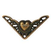 Уголок фурнитура шкатулки М-182 сердечко декор