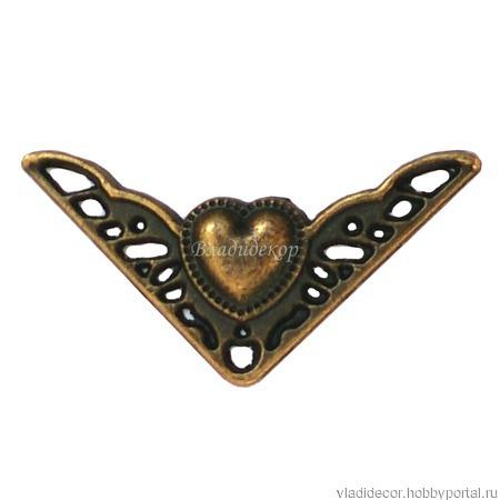 Уголок фурнитура шкатулки М-182 сердечко декор ручной работы на заказ