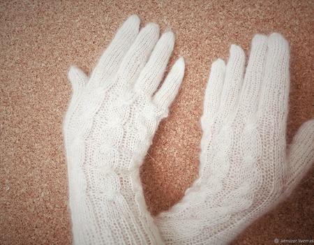 Перчатки ажурные пуховые ручной работы на заказ