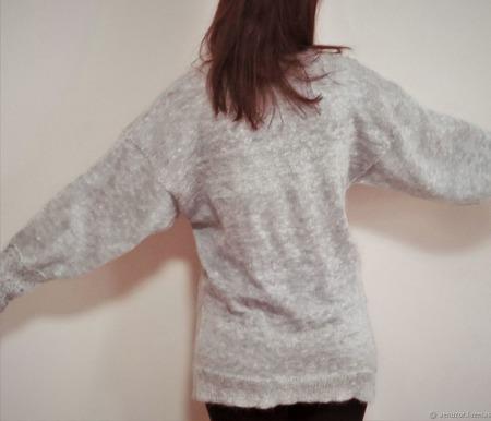 Ажурный пуловер Blue Air пуховый ручной работы на заказ