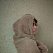 Шарф-капюшон вязаный пуховый