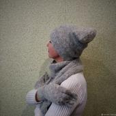Комплект пуховый вязаный  - шапка, шарф, перчатки