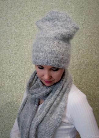 Комплект пуховый вязаный  - шапка, шарф, перчатки ручной работы на заказ